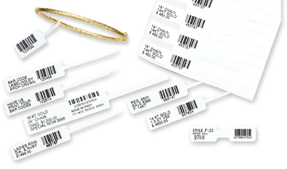 Jewellery tag barcode labels from Sage
