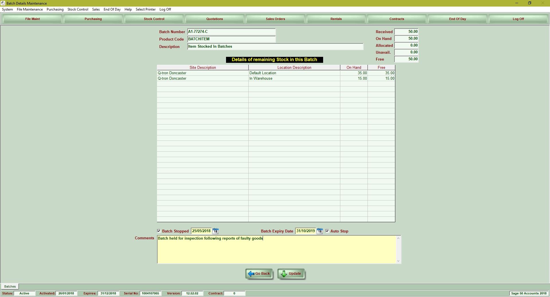 Barcode PrintingBatch Control Module
